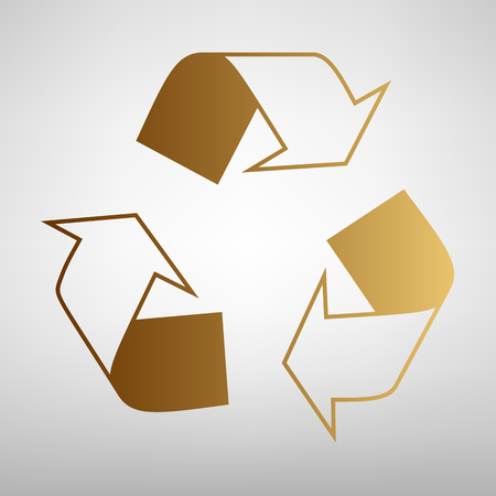 recycle logo: Recycle logo concept. Flat style icon with golden gradient