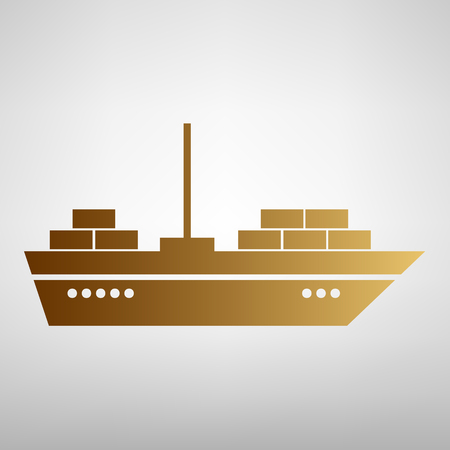 inflate boat: Ship sign. Flat style icon with golden gradient