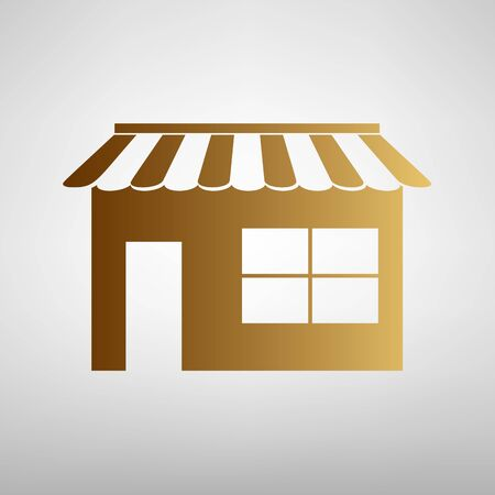 urbanization: Store sign. Flat style icon with golden gradient