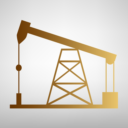 drilling rig: Oil drilling rig sign. Flat style icon with golden gradient Illustration