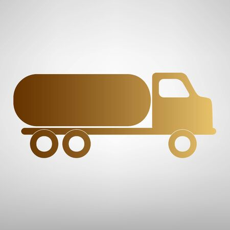 fabrication: Car transports sign. Flat style icon with golden gradient Illustration