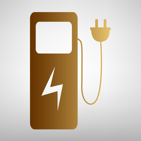 zero emission: Electric car charging station sign. Flat style icon with golden gradient Illustration