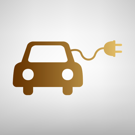 automobile industry: Eco electrocar sign. Flat style icon with golden gradient Illustration