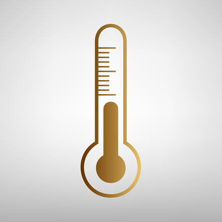 Thermometer sign. Flat style icon with golden gradient