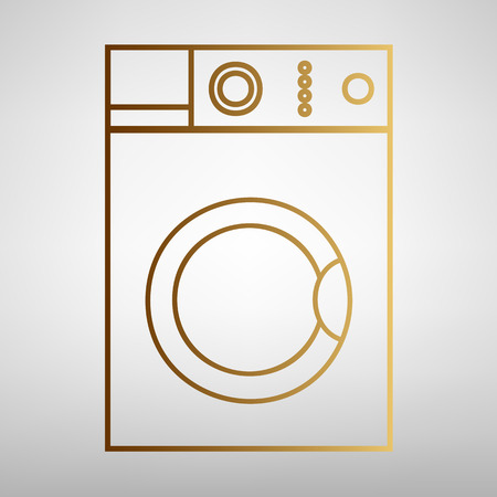 major household appliance: Washing machine sign. Flat style icon with golden gradient Illustration