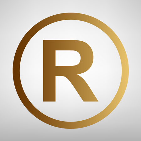 Registered Trademark sign. Flat style icon with golden gradient Ilustrace