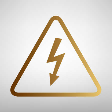 volte: High voltage danger sign. Flat style icon with golden gradient