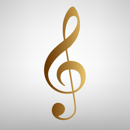 treble g clef: Music violine clef sign. Flat style icon with golden gradient