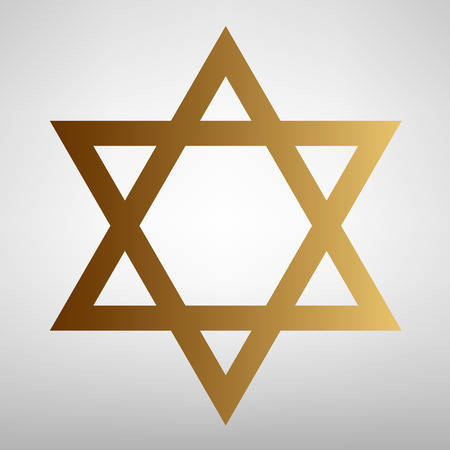 magen: Star. Shield Magen David. Symbol of Israel. Flat style icon with golden gradient