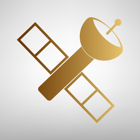 transponder: Satellite sign. Flat style icon with golden gradient