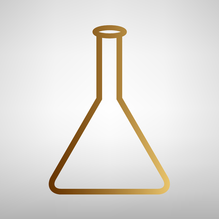 conical: Conical Flask sign. Flat style icon with golden gradient