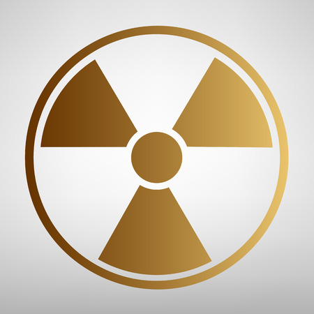 radiological: Radiation Round sign. Flat style icon with golden gradient
