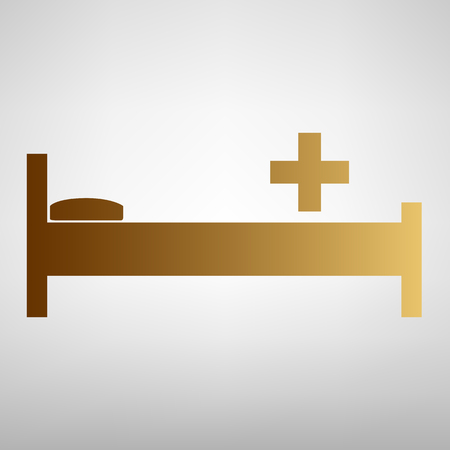 surgery stretcher: Hospital sign. Flat style icon with golden gradient Illustration