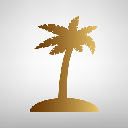 palmtrees: Coconut palm tree sign. Flat style icon with golden gradient