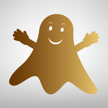 ghastly: Ghost isolated sign. Flat style icon with golden gradient