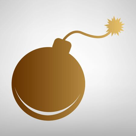 bomb sign: Bomb sign. Flat style icon with golden gradient