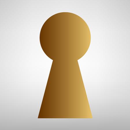 Keyhole sign. Vlakke stijl icoon met gouden gradiënt Vector Illustratie