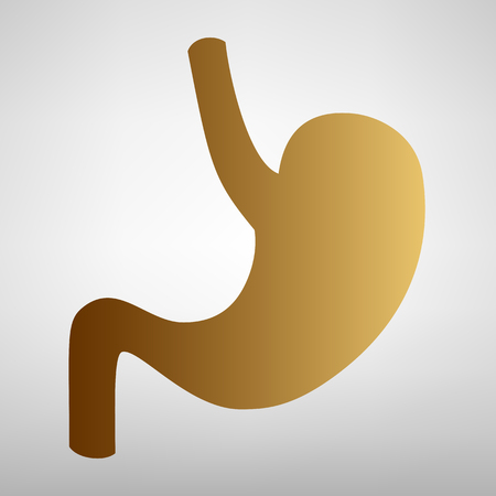 Human anatomy. Stomach sign. Flat style icon with golden gradient