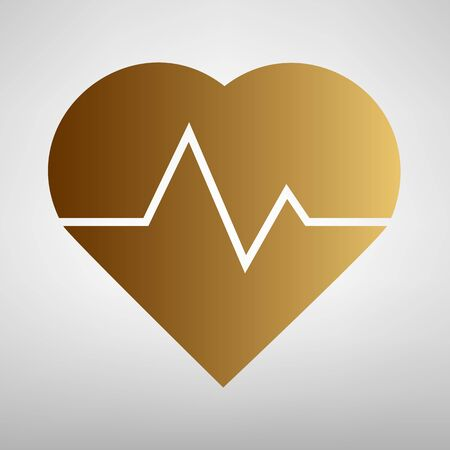 cardiograph: Heartbeat sign. Flat style icon with golden gradient