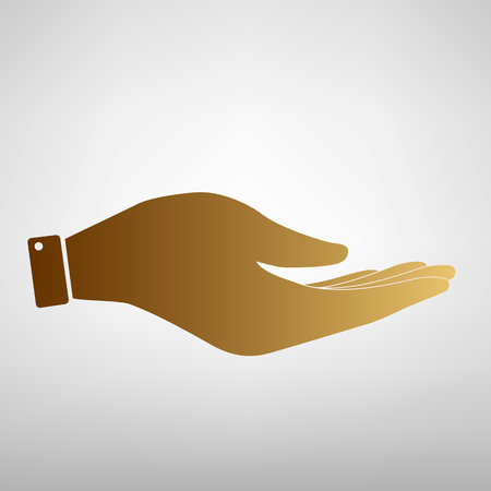 Hand  sign. Flat style icon with golden gradient 矢量图像