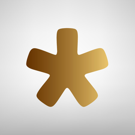 passcode: Asterisk star sign. Flat style icon with golden gradient