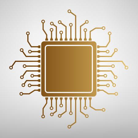 CPU マイクロプロセッサ。黄金のグラデーションでフラット スタイル アイコン  イラスト・ベクター素材