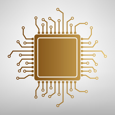 chipset: CPU Microprocessor. Flat style icon with golden gradient