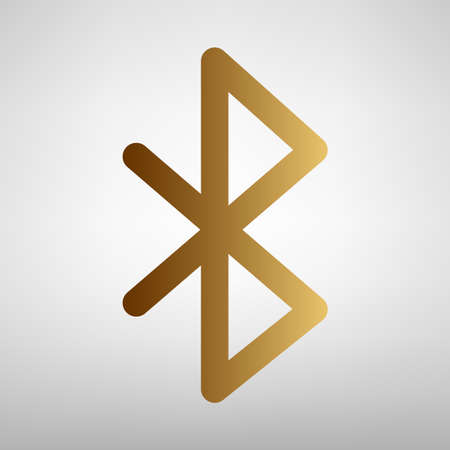 bluetooth: Bluetooth sign. Flat style icon with golden gradient