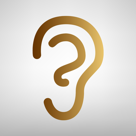 listener: Human ear sign. Flat style icon with golden gradient