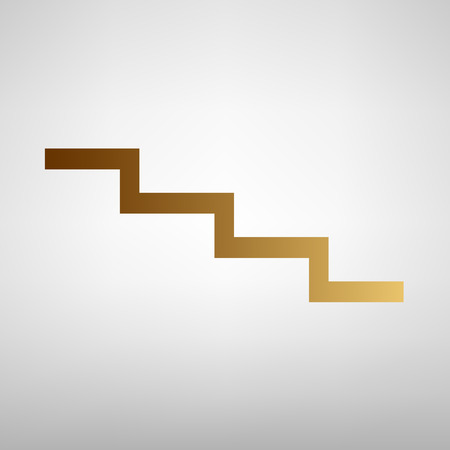 stair: Stair down sign. Flat style icon with golden gradient