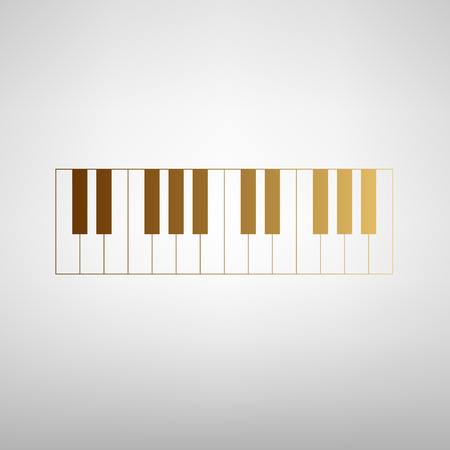 clavier: Piano Keyboard sign. Flat style icon with golden gradient