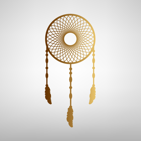 swelled: Dream catcher sign. Flat style icon with golden gradient