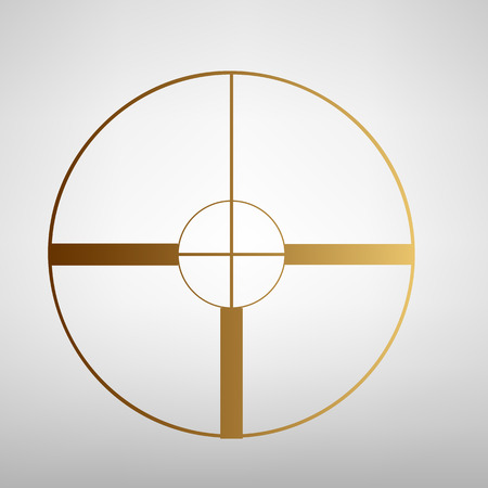 crosshair: Crosshair Target  sign. Flat style icon with golden gradient