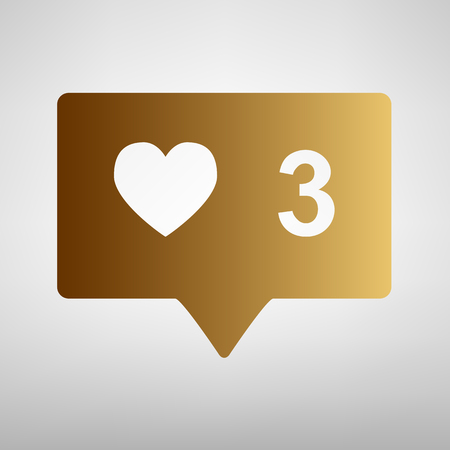 feedback link: Like and comment sign. Flat style icon with golden gradient