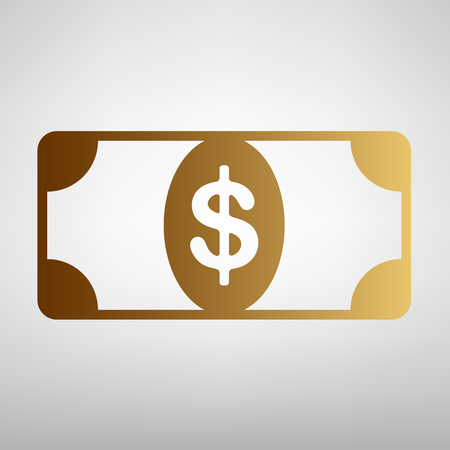 bank note: Bank Note dollar sign. Flat style icon with golden gradient Illustration