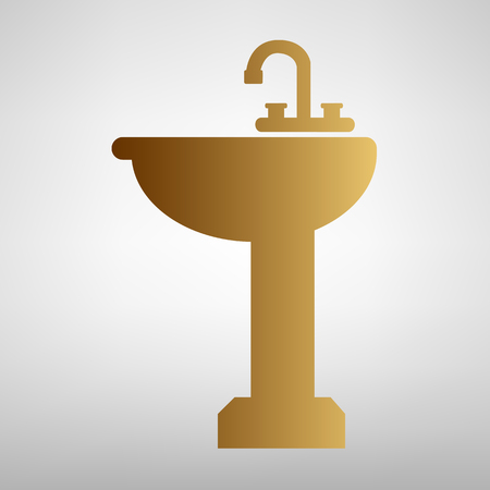 necessity: Bathroom sink sign. Flat style icon with golden gradient