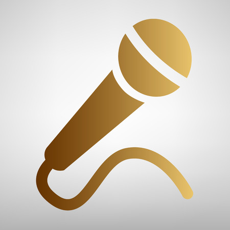 amplification: Microphone sign. Flat style icon with golden gradient