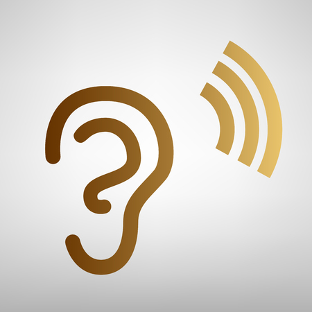 Human ear sign. Flat style icon with golden gradient