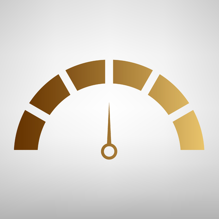 warning indicator: Speedometer sign. Flat style icon with golden gradient