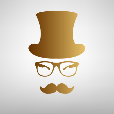 gent: Hipster style accessories design. Flat style icon with golden gradient Illustration