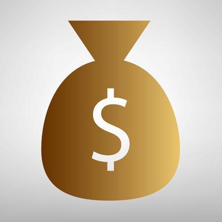signo pesos: signo bolsa de dinero. icono de estilo plana con gradiente de oro