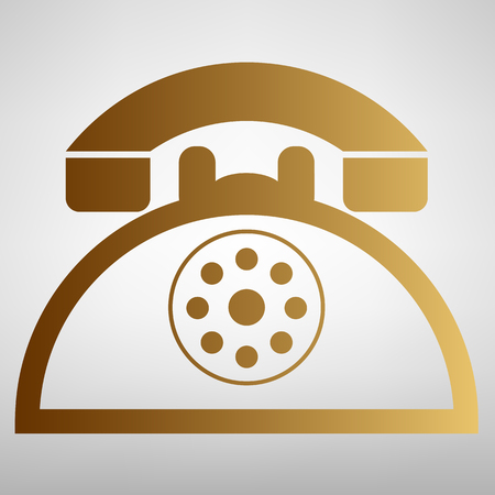 old fashioned rotary phone: Retro telephone sign. Flat style icon with golden gradient