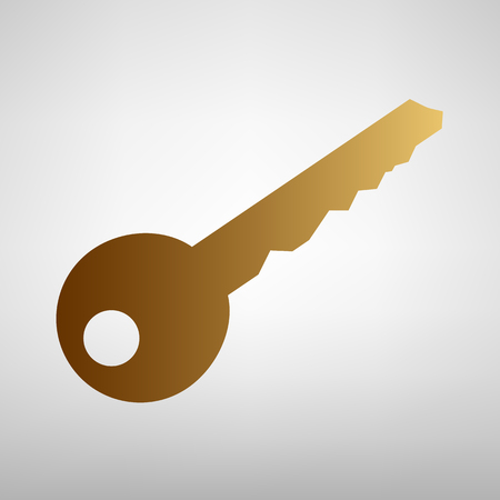 Key sign. Flat style icon with golden gradient