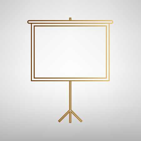 projection screen: Blank Projection screen. Flat style icon with golden gradient