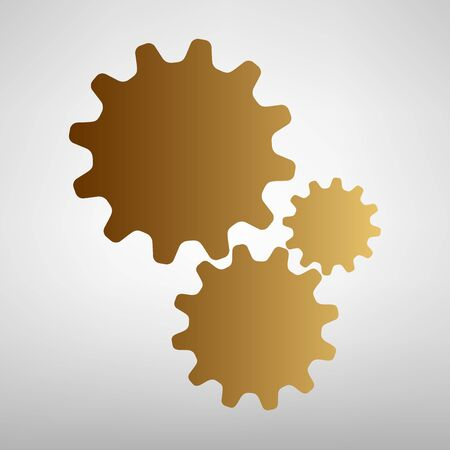 wheel change: Settings sign. Flat style icon with golden gradient Illustration
