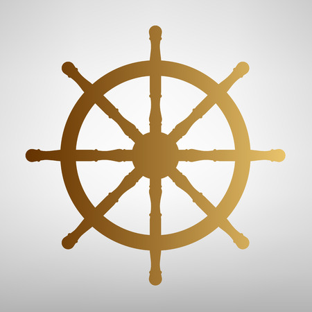 mariner: Ship wheel sign. Flat style icon with golden gradient