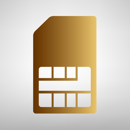 sim card: Sim card sign. Flat style icon with golden gradient Illustration