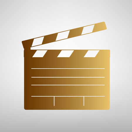 clap board: Film clap board cinema sign. Flat style icon with golden gradient Illustration