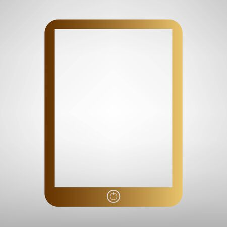 touch sensitive: Computer tablet sign. Flat style icon with golden gradient Illustration