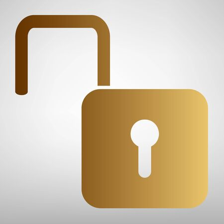 unlock: Unlock sign. Flat style icon with golden gradient